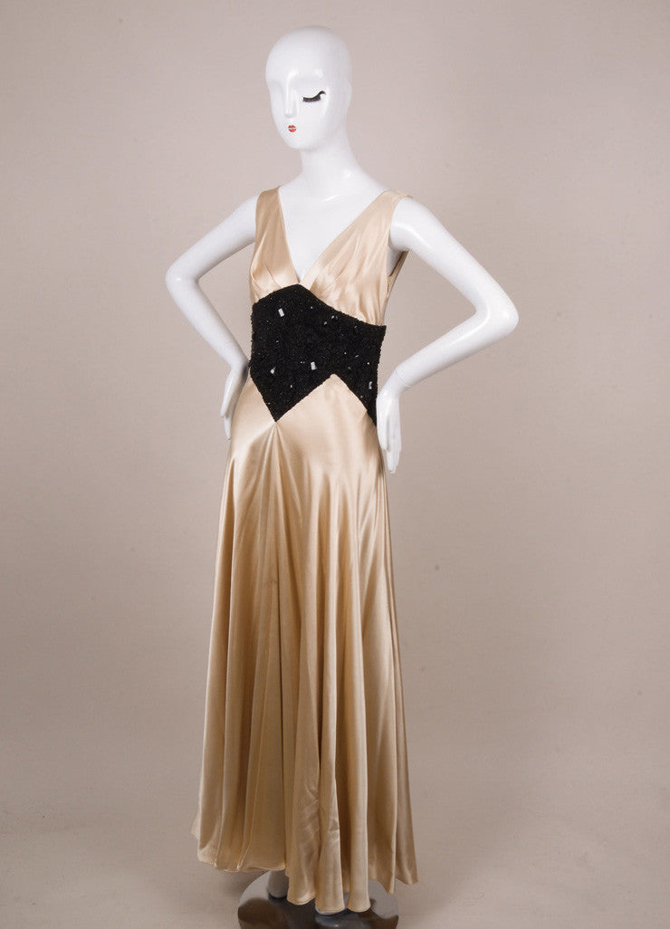 Jenny Packham Champagne and Black Embellished Pleated Gown
