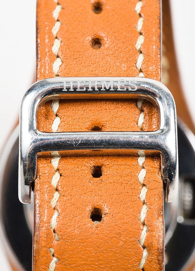 "Cognac Brown Hermes Leather and Stainless Steel ""Harnais"" Watch Closure"