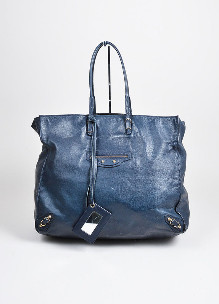 "Black and Dark Blue Leather Balenciaga Moto ""Papier Flap"" Tote Bag Frontview"
