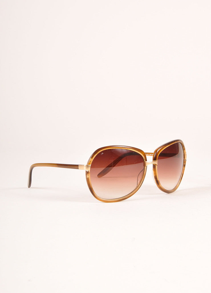 "Barton Perreira Brown and Gold Toned Oversized ""Centerfold"" Sunglasses Sideview"