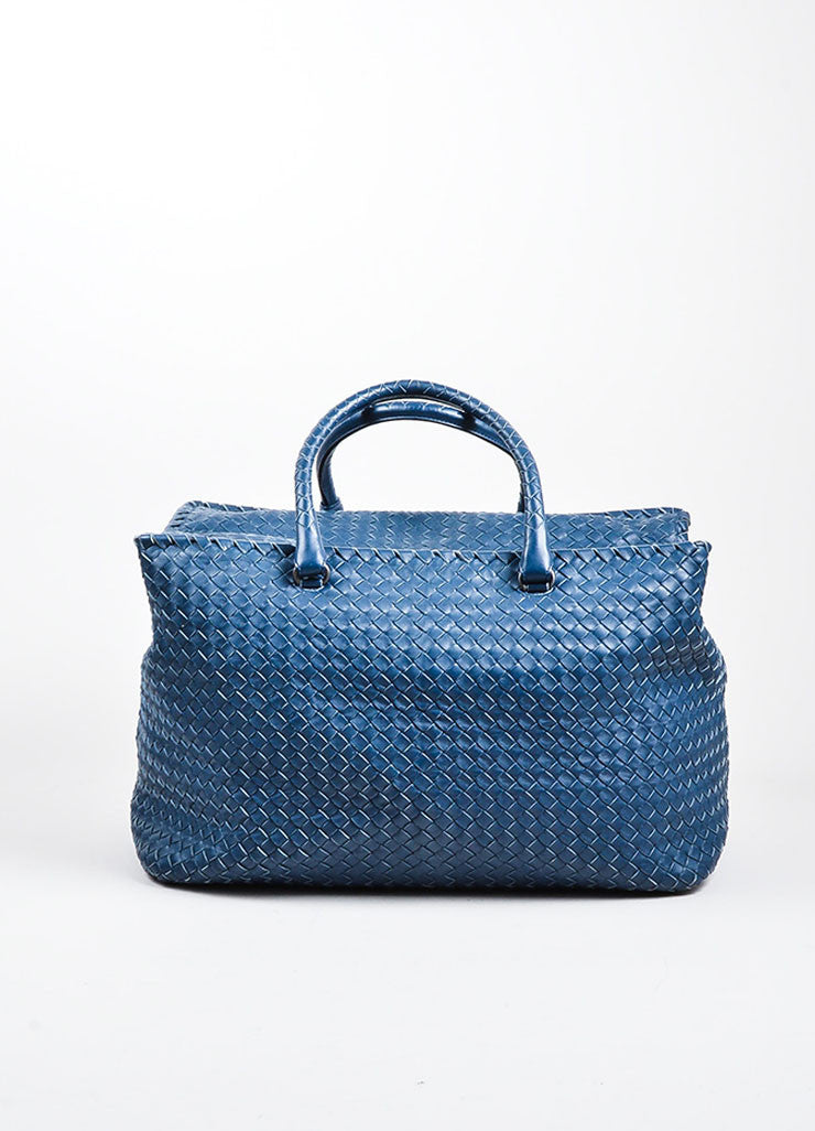"Navy Bottega Veneta Leather Woven ""Intrecciato Weekend Bag"" Duffle Bag Frontview"