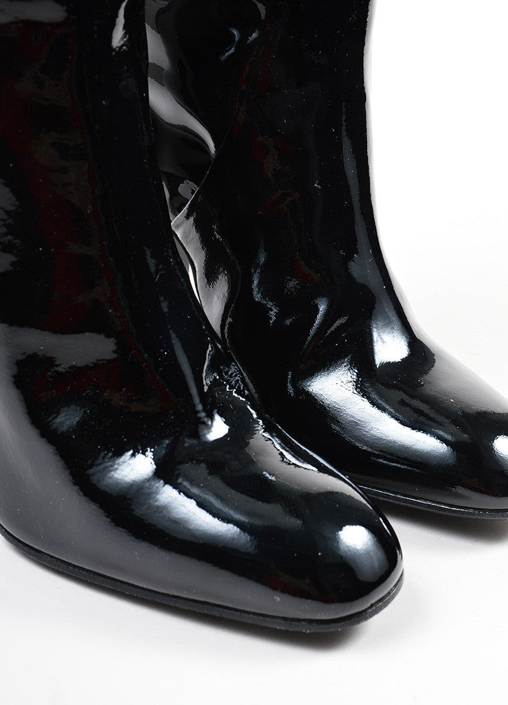 Black Bottega Veneta Patent Leather Knee High Block Heel Boots Detail