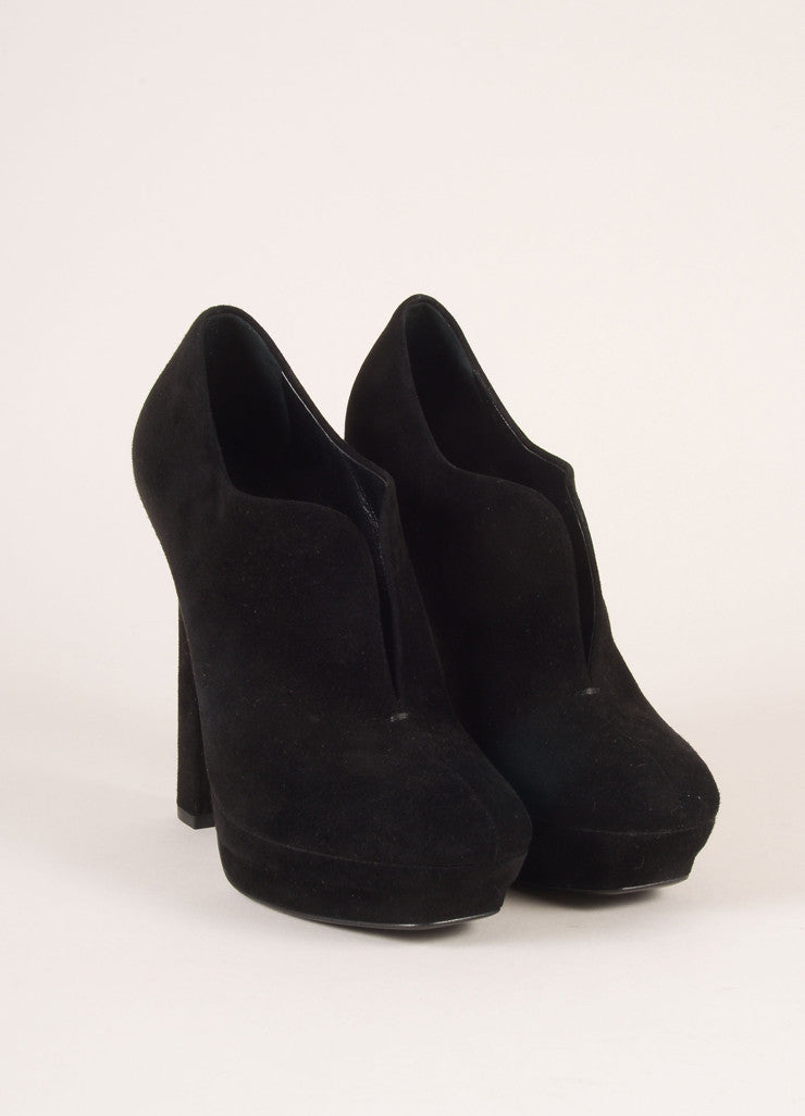 Bottega Veneta Black Suede Leather Platform Booties Frontview