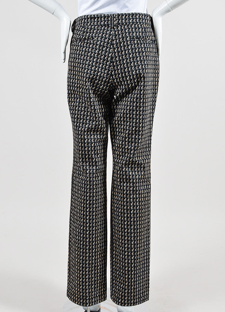 Black, Beige, and Grey Chanel Tweed Pattern Print Cotton Wide Leg Pants Backview