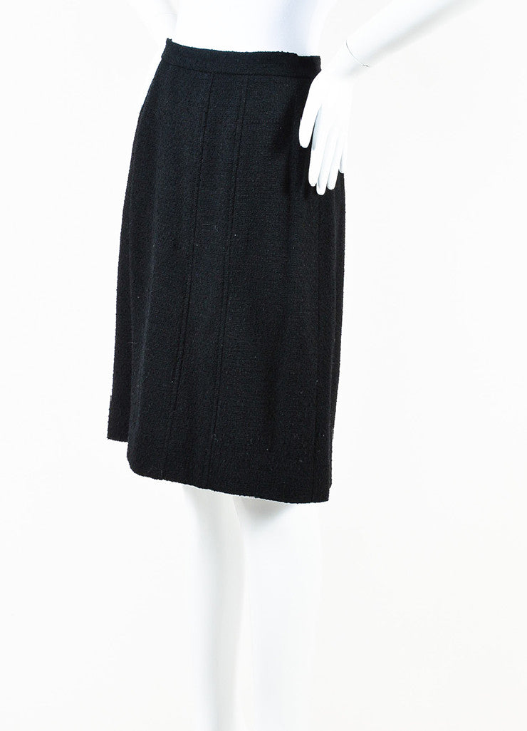 Chanel Black Wool Blend Tweed 'CC' Button Pencil Skirt Sideview