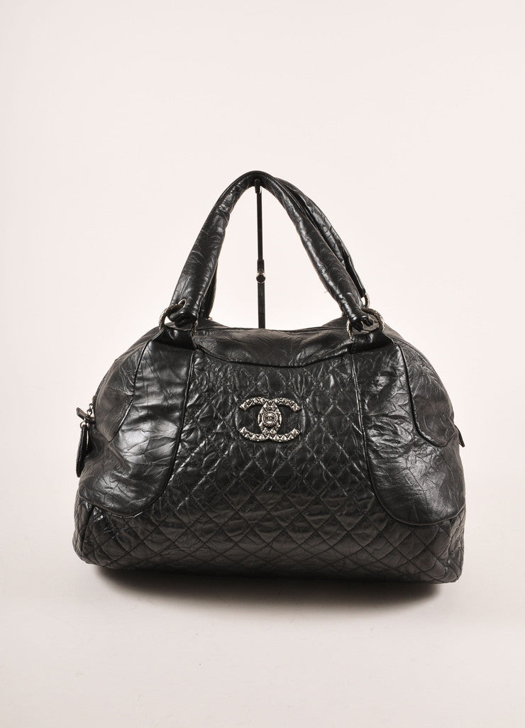 "Chanel Black Crinkle Leather ""CC"" Logo Large Bowler Bag Frontview"