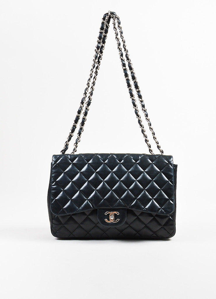 "Black Chanel Lambskin Quilted ""Timeless Classic Jumbo Single Flap"" Bag Frontview"