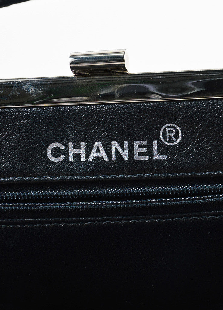 Chanel Black Quilted Velvet Silver Toned Frame Evening Bag brand