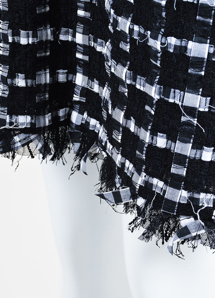 Black and White Chanel Ribbon Tweed Fringe Skirt Detail