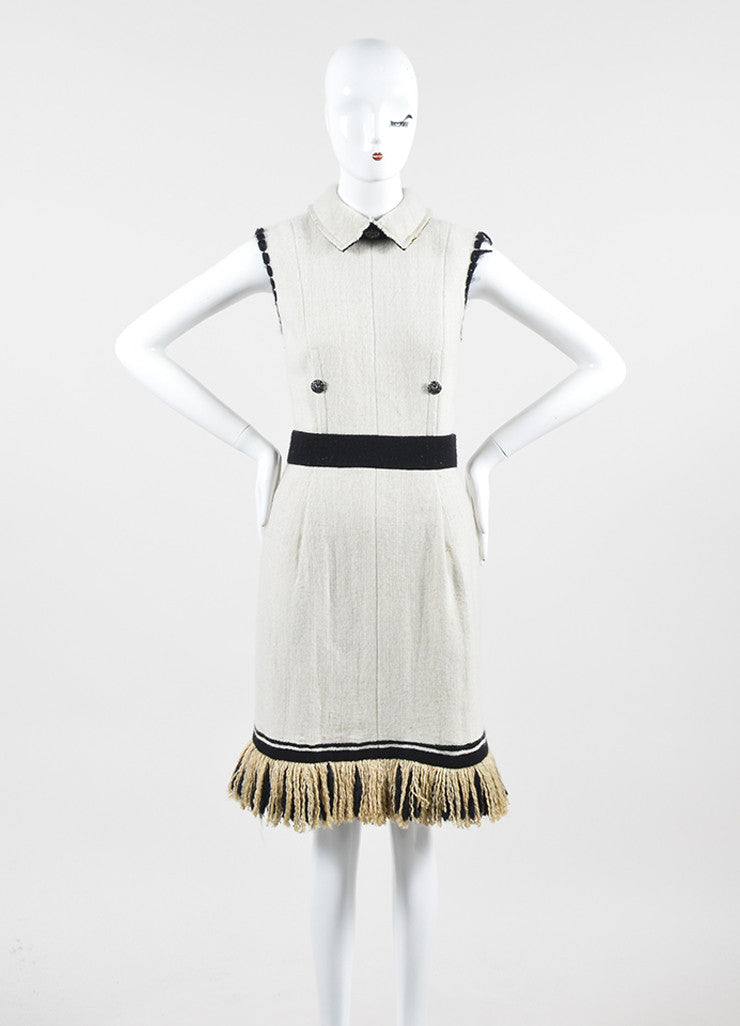 Cream and Black Chanel Cashmere and Silk Knit Fringe Hem Collared Sleeveless Dress Frontview