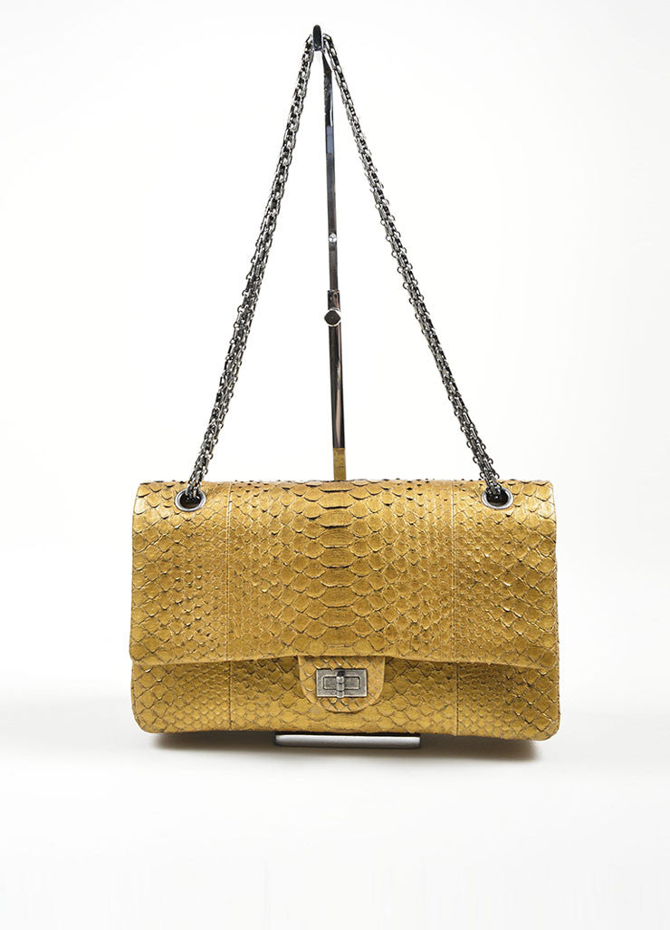 Chanel Gold Python 2.55 Reissue 226 Double Flap Bag Frontview