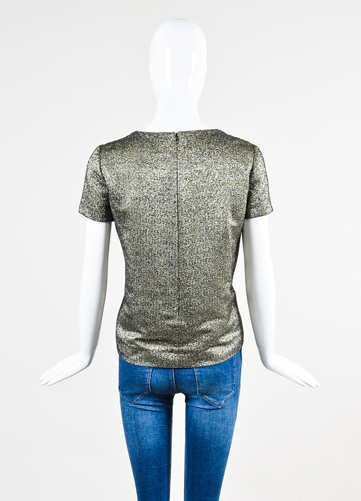 Chanel Gold and Silver Metallic Tweed Short Sleeve Top Backview