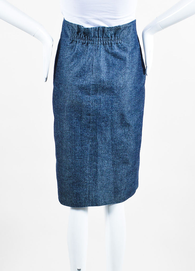Chanel Blue Denim Knee Length Pencil Skirt Backview