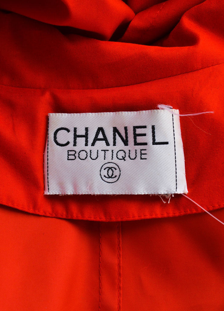 "Chanel Red and Gold Toned ""CC"" Button Trench Coat Brand"