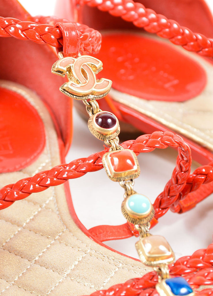 Chanel Red Patent Leather Braided Gripoix Stone Sandals Detail