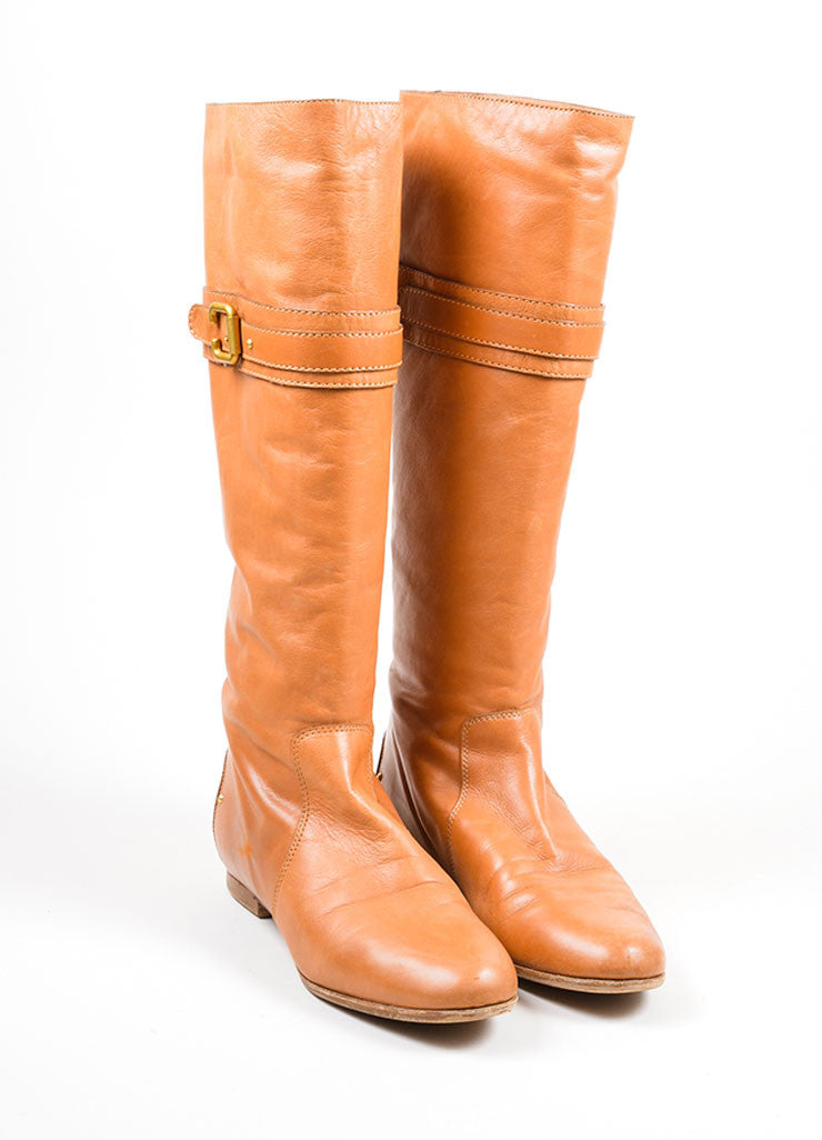 "Tan Chloe Leather Knee High Flat ""Zimba"" Boots Frontview"