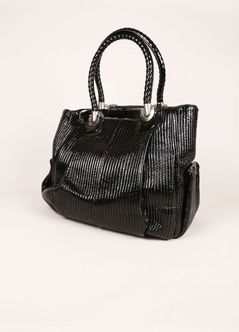 Chloe Black and Silver Toned Patent Leather Ribbed Shoulder Bag Sideview