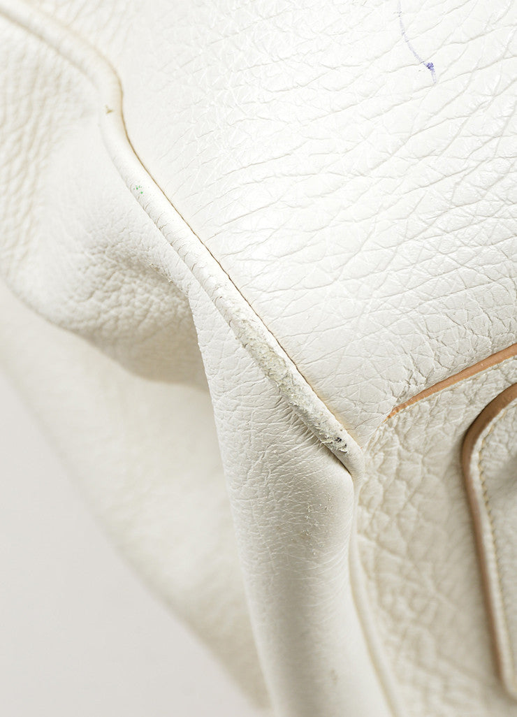"White Christian Dior Leather Dior Charm ""Diorissimo"" Tote Bag Detail"