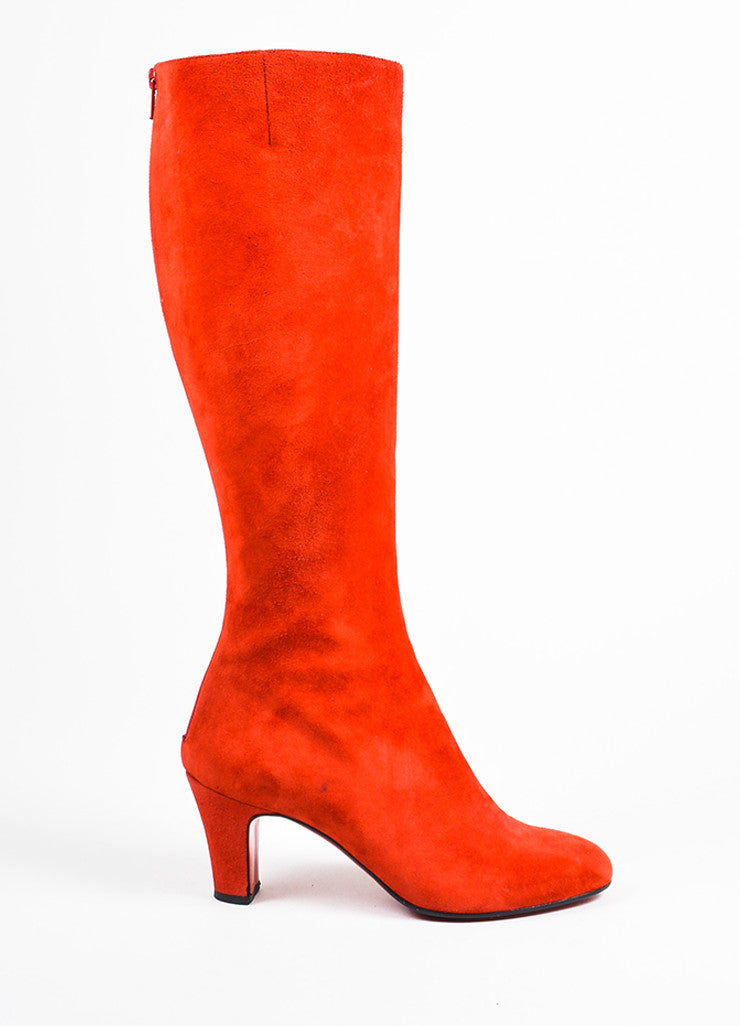 "Christian Louboutin Red Suede Zip Back ""Miss Tack 70"" Heel Boots Sideview"