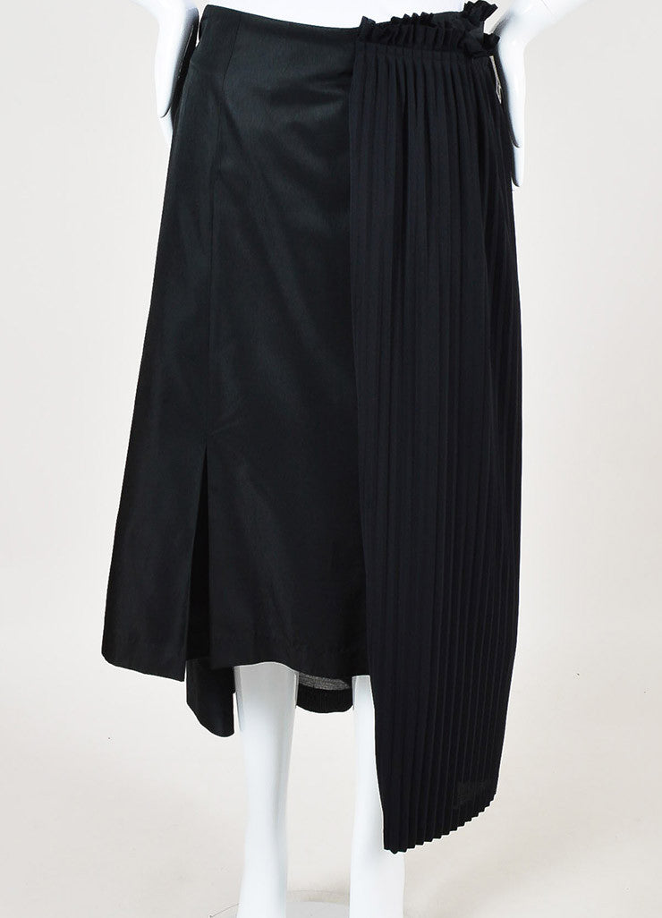 Comme des Garcons Black Silk Blend Pleated Panel Asymmetrical Skirt Frontview