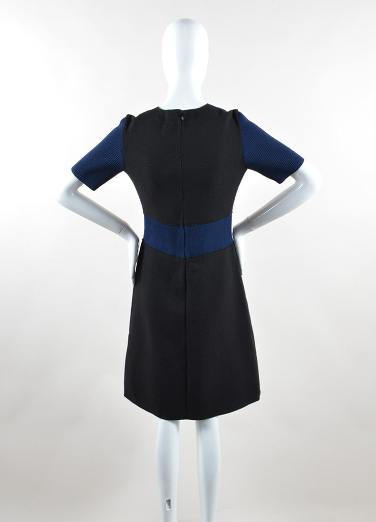 Derek Lam Black, Navy, and Tan Stretch Wool Color Block Short Sleeve Dress Backview