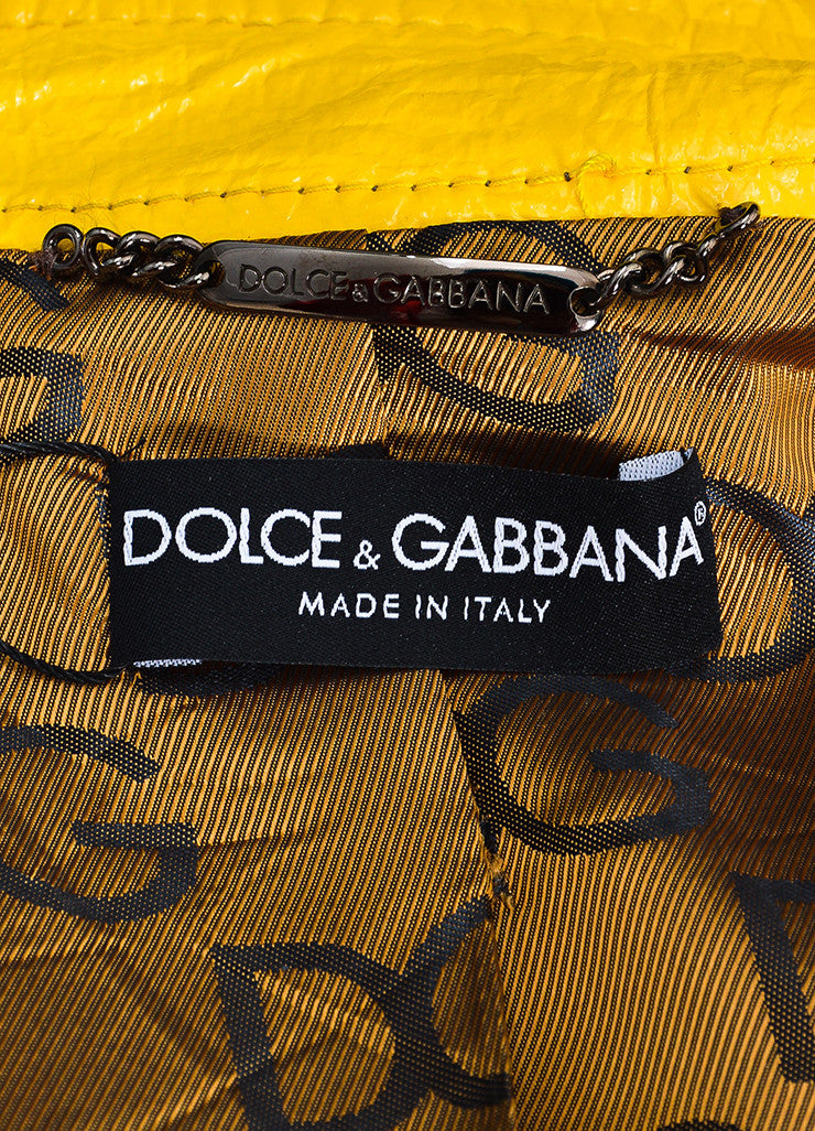 Dolce & Gabbana Yellow Coated Button Belted Trench Rain Coat Brand