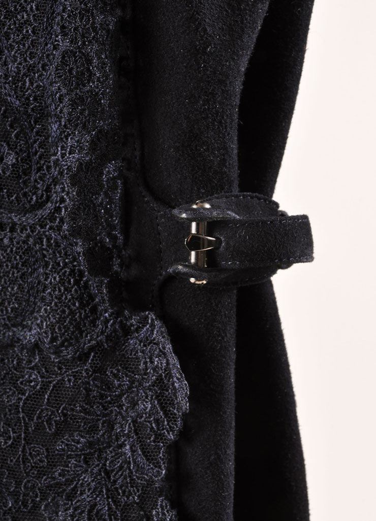 Ermanno Scervino Navy Suede Leather and Lace Over the Kneed Boots Detail 2