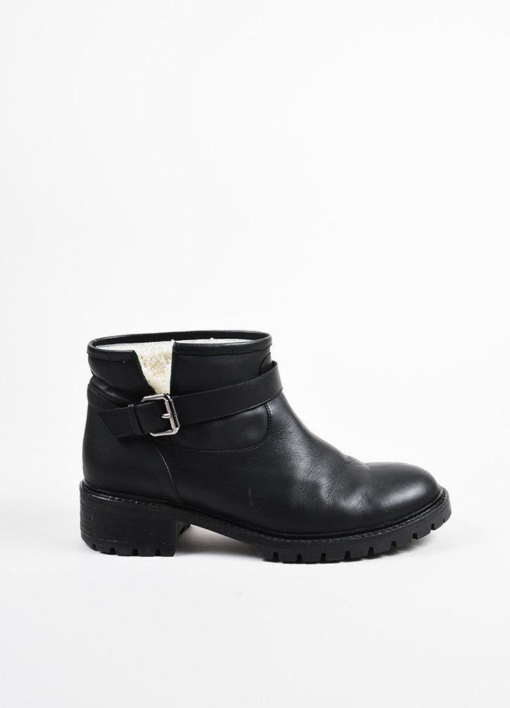 Fendi Black Leather Shearling Lined Ankle Boots sideview