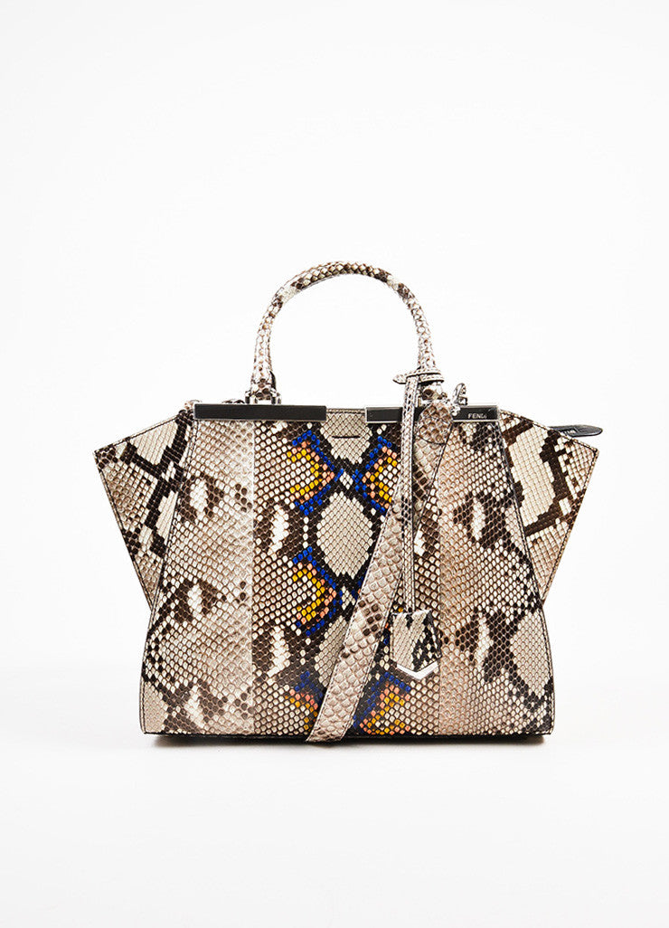 "Fendi Black, White, and Multicolor Python ""3Jour Mini"" Satchel Bag Frontview"