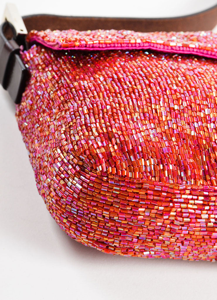 "Fendi Pink and Brown Satin and Leather Beaded ""Baguette"" Flap Shoulder Bag Detail"