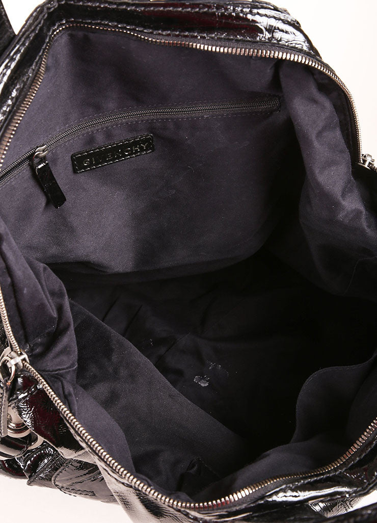 "Givenchy Black Crinkle Patent Leather Two Pocket ""Nightingale"" Tote Bag Interior"