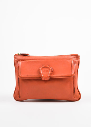 "Givenchy Orange Leather ""Nightingale"" Zip Pouch Bag frontview"