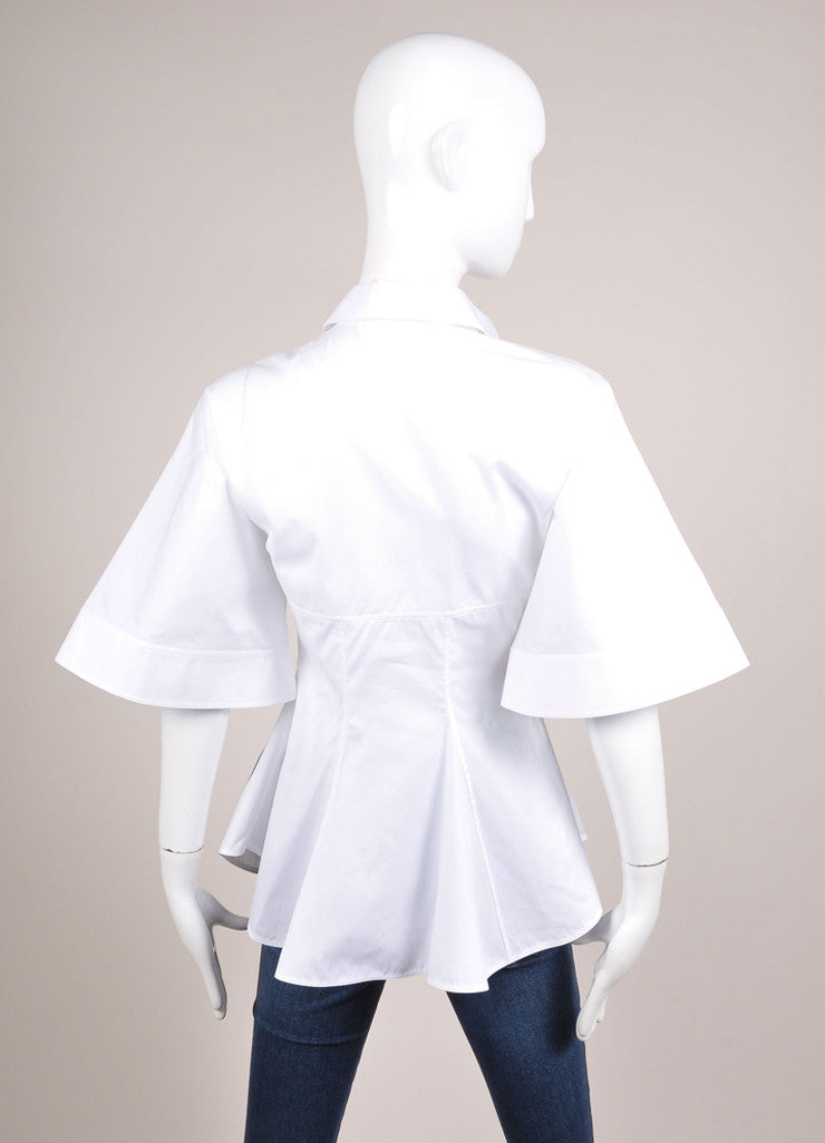 Givenchy White Flared Button Up Collared Cotton Batwing Blouse Backview