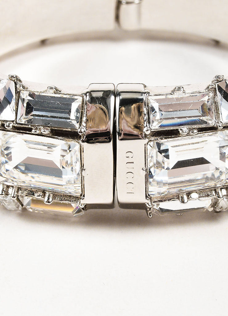 Gucci Silver Plated Swarovski Crystal Hinged Statement Bangle Bracelet Closure