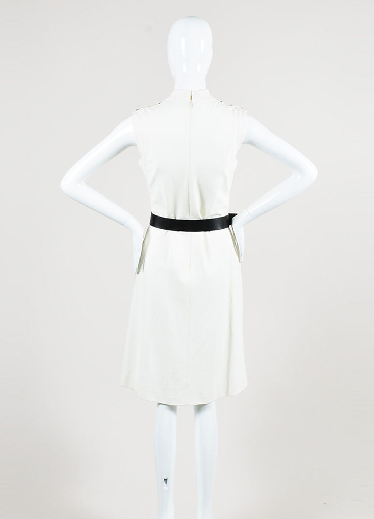 Gucci Cream Mockneck Belted Sleeveless Sheath Dress Backview