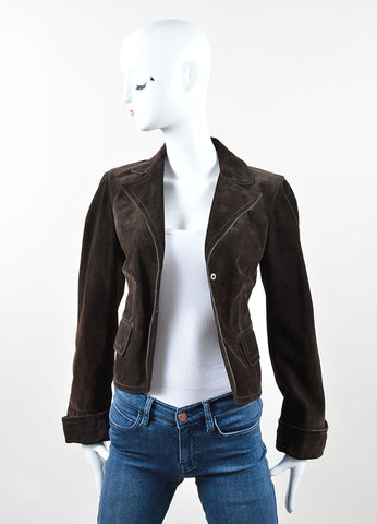 Gucci Dark Brown Suede Button Tailored Jacket Frontview