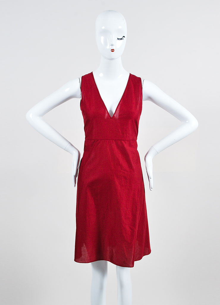 Cranberry Red Gucci Cotton Crocheted Lace Up Long Sleeve Dress Frontview 2