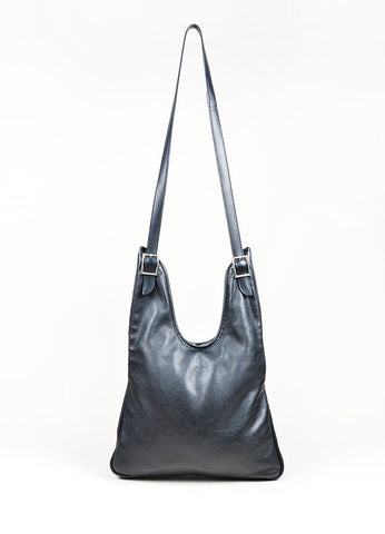 "Black Leather Hermes ""Massai PM"" Slouchy Crossbody Bag Front"