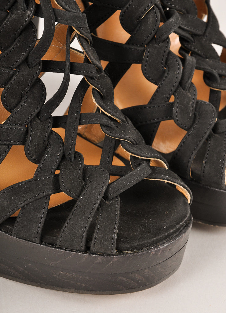 Hermes Black Strappy Woven Lace-Up Leather Platform Heeled Sandals Detail