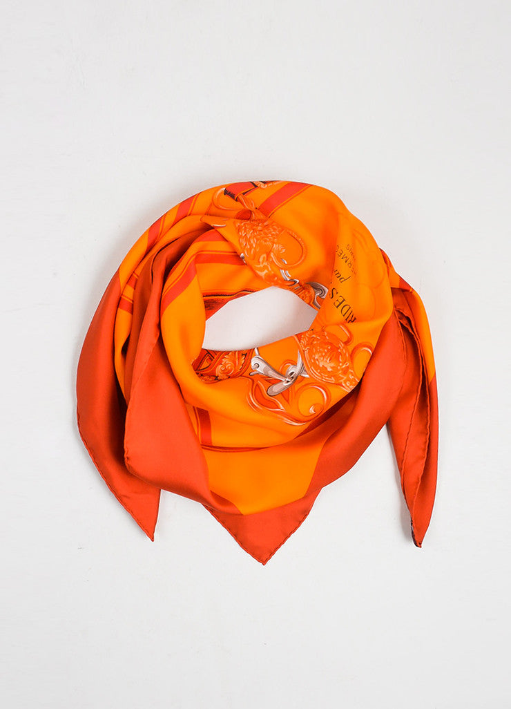 "Red and Orange Hermes Silk ""Brides De Gala"" Equestrian Print Square 90cm Scarf Frontview"