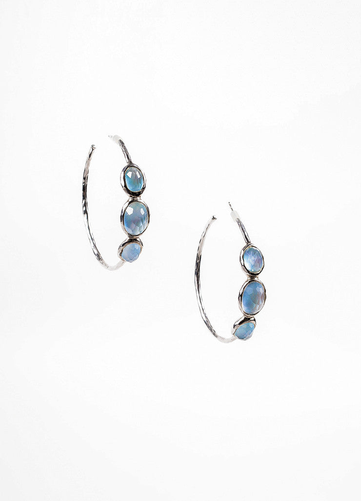 "Ippolita Sterling Silver, Blue Mother Of Pearl, and Quartz ""Rock Candy"" Hoop Earrings Frontview"