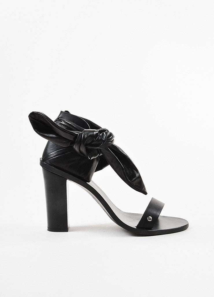 "Black IRO Leather Ruched Strap Ankle Block Heel ""Ophee"" Sandals Side"