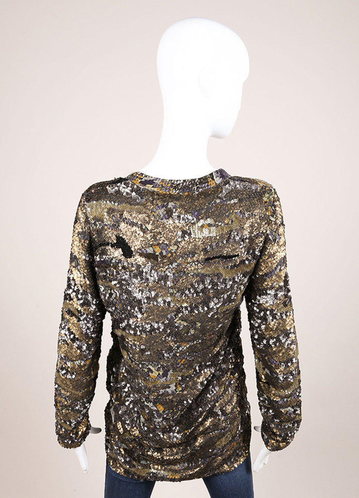 "Isabel Marant New With Tags Green and Blue Printed Silk Sequin ""Woodland"" Tunic Top Backview"