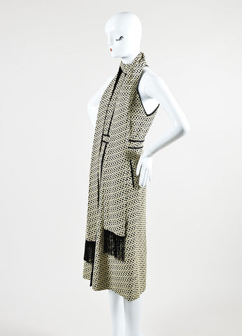 Cream and Black J. Mendel Knot Jacquard Halter Dress with Scarf Sideview