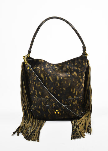 "Jerome Dreyfuss ""Kaki"" Green Suede Leopard Spotted Fringed ""Mario"" Bag Frontview"