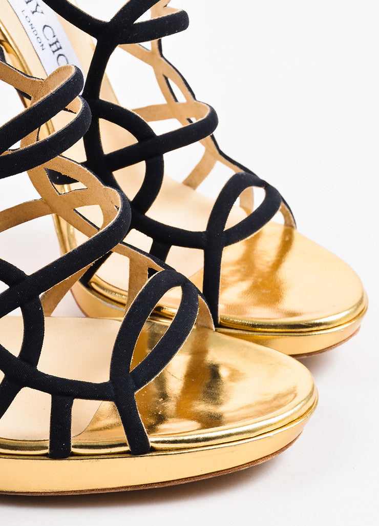 "Jimmy Choo Black and Gold Leather and Canvas ""Bunting"" Cage Sandal Heels Detail"