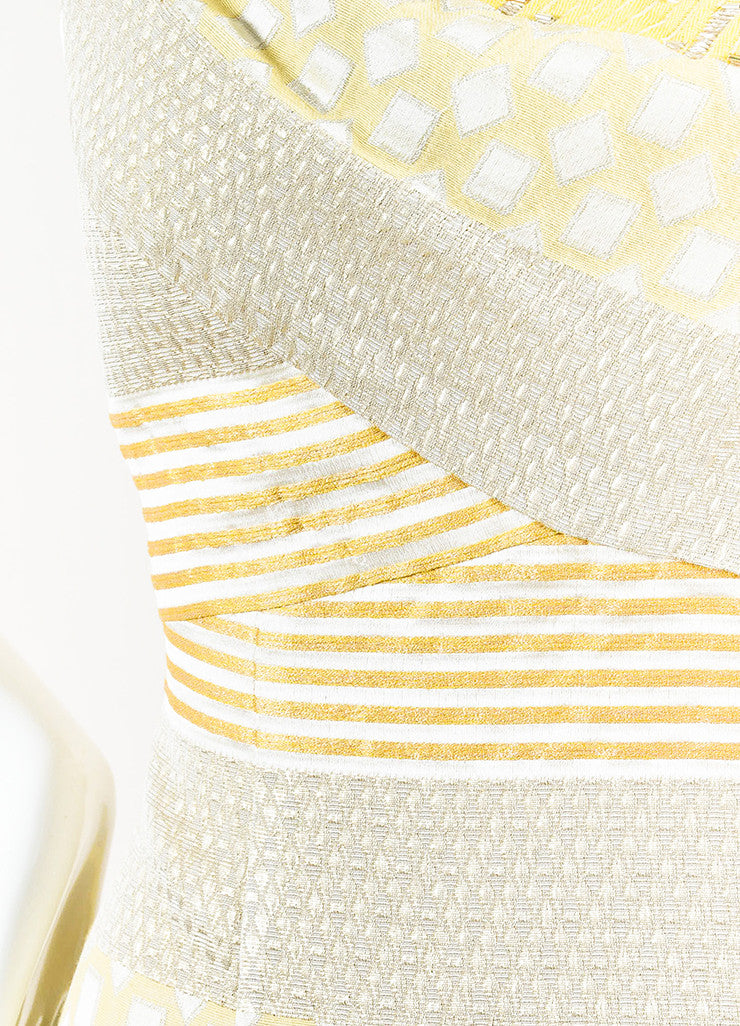 Kay Unger Yellow, Silver, and Gold Metallic Brocade Sleeveless Sheath Dress Detail