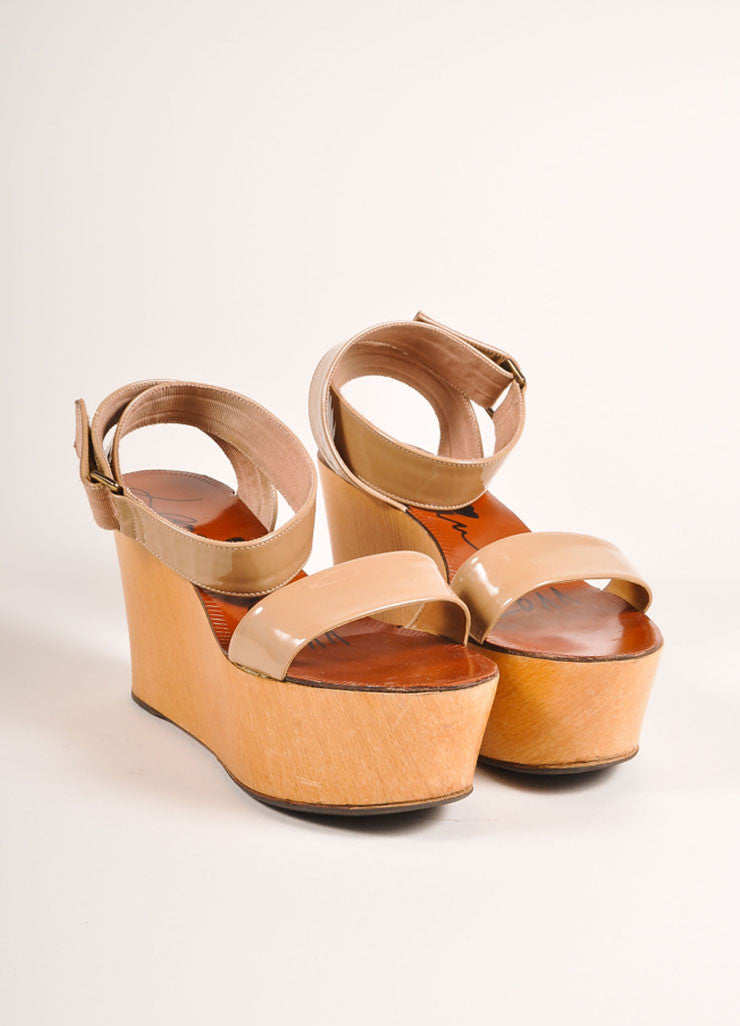 Lanvin Beige Patent Leather Wooden Platform Wedge Sandals Frontview