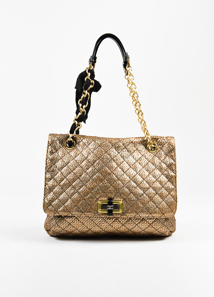 "Lanvin Gold and Black Embossed Chain Flap ""Happy Sac Partage"" Shoulder Bag Frontview"