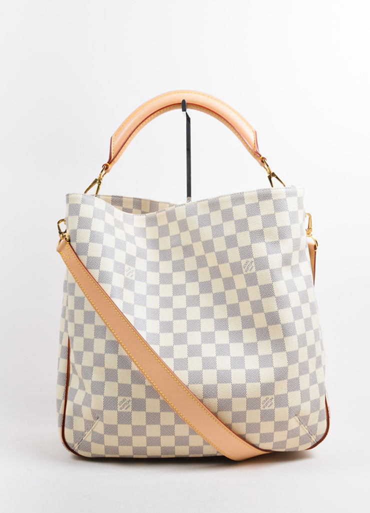 "Louis Vuitton Cream and Blue Coated Canvas Checkered ""Damier Azur Soffi""  Bag Frontview"